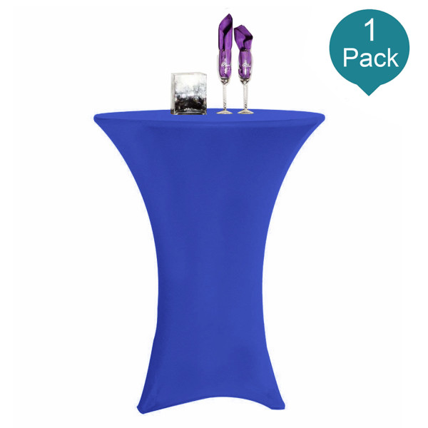 Reliancer 1 Pack 30inch Highboy Cocktail Round Spandex Table Cover Four-Way Tight Fitted Stretch Tablecloth Table Cloth for Outdoor Party DJ Tradeshow Banquet Vendor Wedding(1PC 30''X42'',Royal Blue)