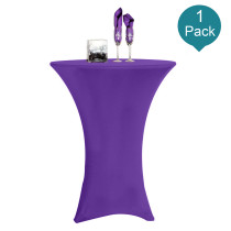 Reliancer 1 Pack 32inch Highboy Cocktail Round Spandex Table Cover Four-Way Tight Fitted Stretch Tablecloth Table Cloth for Outdoor Party DJ Tradeshow Banquet Vendor Wedding(1PC 32''X43'',Purple)