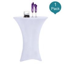 Reliancer 1 Pack 36inch Highboy Cocktail Round Spandex Table Cover Four-Way Tight Fitted Stretch Tablecloth Table Cloth for Outdoor Party DJ Tradeshow Banquet Vendor Wedding(1PC 36''X43'',White)