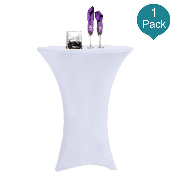 Reliancer 1 Pack 24inch Cocktail Round Spandex Table Cover Tight Fitted Stretch Tablecloth Table Cloth for Rounded Bottom Outdoor Party DJ Tradeshows Banquet Vendors Weddings(24 x43 ,White)
