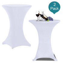 Reliancer 2 Pack 36inch Highboy Cocktail Round Spandex Table Cover Four-Way Tight Fitted Stretch Tablecloth Table Cloth for Outdoor Party DJ Tradeshow Banquet Vendor Wedding(2PC 36''X43'',White)