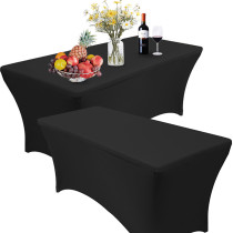 Reliancer 4 Pack 4\6\8FT Rectangular Spandex Table Cover Four-Way Tight Fitted Stretch Tablecloth Table Cloth for Outdoor Party DJ Tradeshows Banquet Vendors Weddings Celebrations (4PC 8FT, Black)
