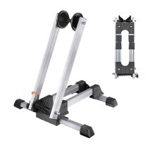 Reliancer 2 Pack Sports Foldable Alloy Bicycle Storage Stand Bike Floor Parking Rack Wheel Holder Fit 20 -29  Bikes Indoor Home Garage Outdoor Using (2 Pack, Silver)