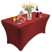 Reliancer 4\6\8FT Rectangular Spandex Table Cover Four-Way Tight Fitted Stretch Tablecloth Table Cloth for Outdoor Party DJ Tradeshows Banquet Vendors Weddings Celebrations (2PC 8FT, Red)