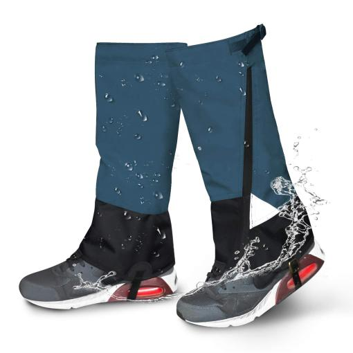 Leg Gaiters Waterproof Snow Boot Gaiters 900D Anti-Tear Adjustable Shoes Gaiters High Leg Cover for Men Women Outdoor Hiking Walking Hunting Skiing Snowshoeing Camping Climbing(Blue)