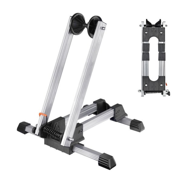 Reliancer Sports Foldable Alloy Bicycle Storage Stand Bike Floor Parking Rack Wheel Holder Fit 20 -29  Bikes Indoor Home Garage Using Silver