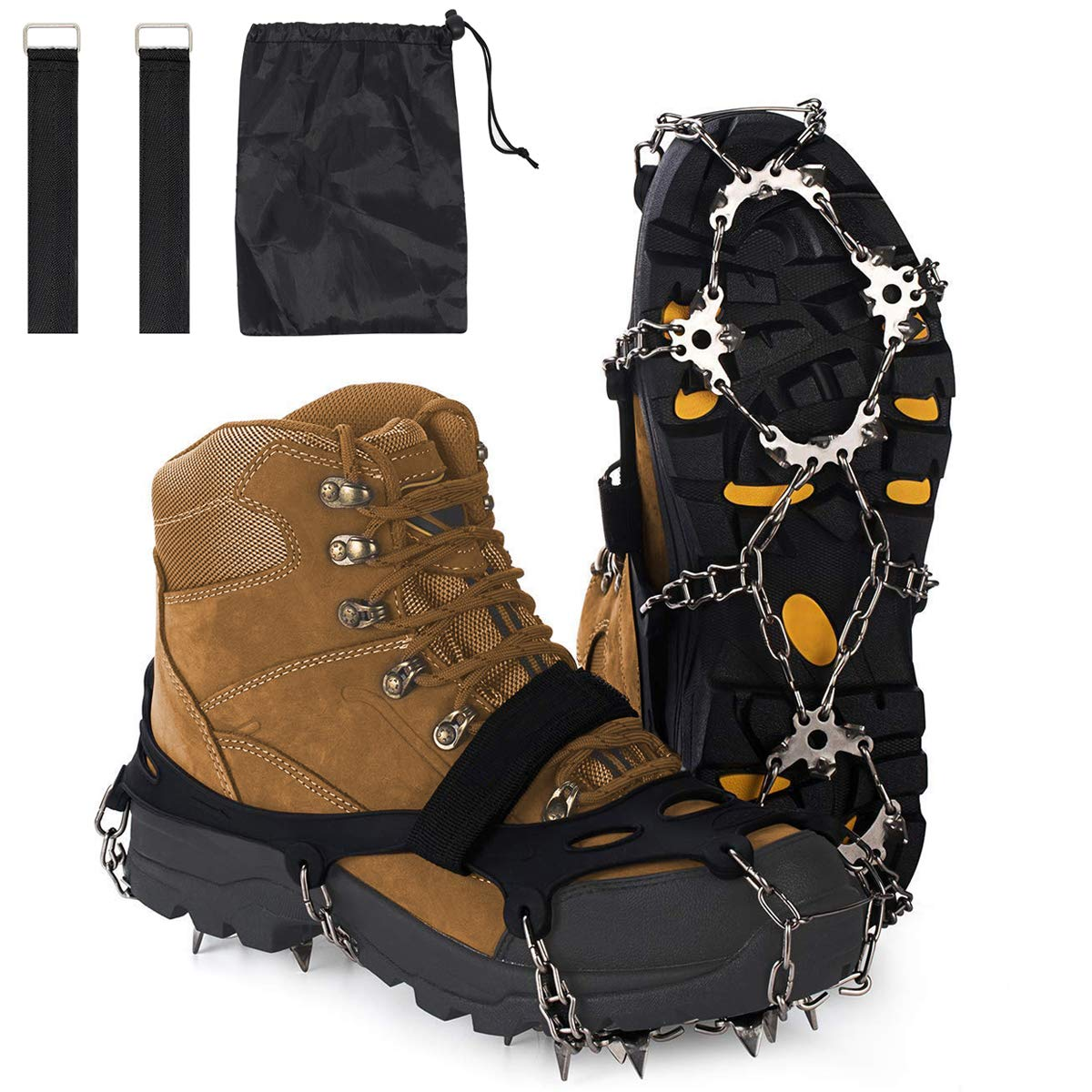 ENJOY OUTDOOR Ice Cleats Crampons and Tread Ice Gripper for Walking or Hiking on Snow and Ice,Cleat Over Shoe,Boot Anti Slip 10 Steel Crampons Slip-on Stretch Footwear