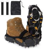 18 Stainless Steel Spikes Walk Traction Ice Cleats Footwear Crampons w/2 Straps All-Surface Safety Anti-Slip Snow Treads Grips Gripper for Walking Jogging Hiking Climbing on Snow and Ice