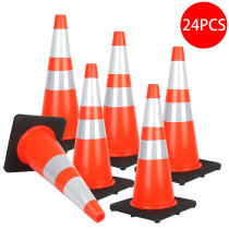 Reliancer 24PCS 28  Traffic Cones PVC Safety Road Parking Cones with Black Weighted Base w/6 &4  Reflective Collars Fluorescent Orange Hazard Cones Construction Cones for Traffic or Home Improvement