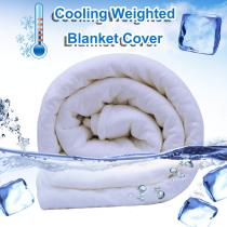 Cooling Duvet Cover for Weighted Blanket 48''x72'' Dual Sided Cooling Ice Silk 100% Natural Cotton for Hot Summer Machine Washable Heavy Blanket Quilt Chill Cover for Hot Sleepers Fits Full Queen