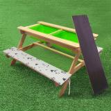 Kids Picnic Table and Chairs Set w/ Cushions Outdoor Wooden Desk and Benches Sand and Water Table Patio Dining Playful Wood Table 2 Large Storage Drawers Removable Table Top for Children Deck Garden