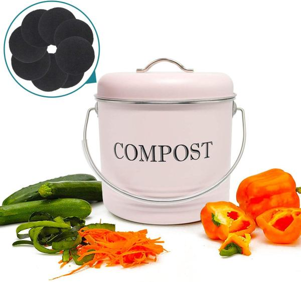 Reliancer Compost Bin with 8 FREE Charcoal Filters 1.3 Gallon 5 Liter Dual Layer Powder-Coated Carbon Steel Compost Bucket with Lid Kitchen Pail Trash Keeper Container Recycling Caddy for Food Scraps