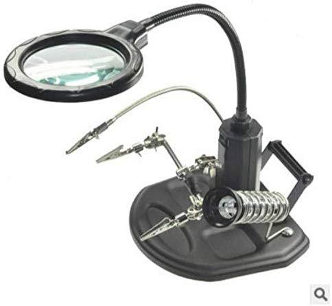 Helping Hands Magnifier Work Station with 16 LED Lights 2.5X/4X USB Rechargeable Hands Free Welding Magnifying Glass Stand Heavy Base Clamp and Alligator Clips Third Hand Solder Holder for Soldering