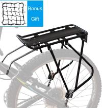 Bike Cargo Rack w/Bungee Cargo Net & Reflective Logo Universal Adjustable Bicycle Rear Luggage Touring Carrier Racks 110lbs Capacity Quick Release Mountain Road Bike Pannier Rack for 26 -29  Frames