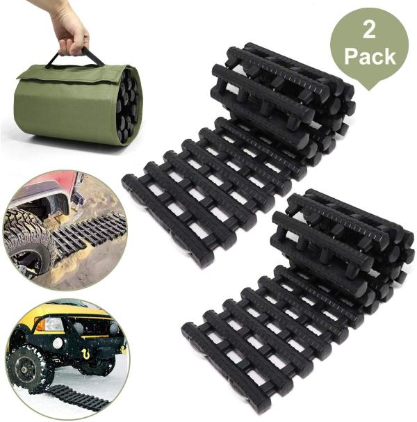 Reliancer 2PC Traction Tracks Mats TPR 31.5  L Tire Recovery Track Pad Roll Car Vehicle Tyre Traction Boards Tire Ladder Track Grabber Auto Emergency Traction Aid w/Bag for Off-Road Mud Snow Ice Sand