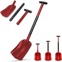 Aluminum Snow Shovel 3 Piece Collapsible Design 21 -32  Adjustable Portable Compact Sport Utility Shovel Telescopic Snowboard Shovel Extended Camp Shovel for Car Emergency Camping Truck