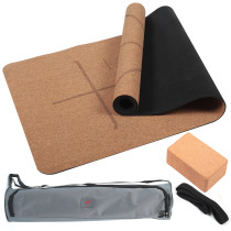 4PCS Eco-friendly Cork Yoga Mat Set Non-slip Organic Cork & Natural Rubber w/3inch Cork Block&Yoga Strap&Yoga bag For Hot Yoga Gymnastics Aerobicsw 72 LX24 W 4mm Non-Toxic Latex Free Gym Exercise Mat