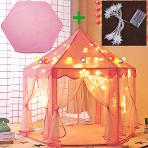 Large Kids Hexagon Princess Castle Playhouse Tent w/Hexagonal Coral Rug and Lights Indoor Outdoor Child Girls Party Dress-up Dollhouse 55 x 53 (DxH) Pink