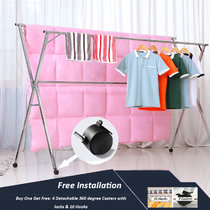 Reliancer Free Installed Stainless Steel Clothes Drying Rack Foldable Space Saving Retractable Rack Hanger Heavy duty