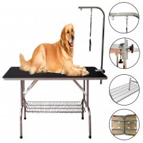 Reliancer Large Heavy Duty Foldable Pet Grooming Table Professional Dog Cat Show w/Adjustable Arm &Noose & Mesh Tray Maximum Capacity Up to 330lbs