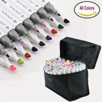 Professional 40/80/168 Colors Dual Tip Art Marker Pens Graphic Drawing Painting Alcohol Tiwn Tip Sketch Pen Design Coloring Highlighting Set w/Carry Bag Hand Painted Design Draft Pencil