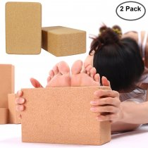 Reliancer 2 Pack Eco-friendly Cork Yoga Blocks 4inch Thick Laser Edge Anti-friction Anti-slip Natural Yoga Brick Wet Absorbent Odor-Resistant and Moisture-Proof to Support and Deepen Poses