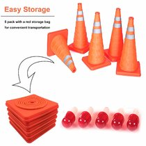 5PCS 18  Collapsible Traffic Cones with Nighttime LED Lights Pop up Safety Road Parking Cones Weighted Hazard Cones Construction Cones Fluorescent Orange w/2 Reflective Silver Strips Collar