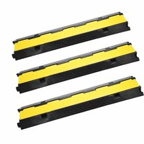 3 Pack Extreme Rubber Cable Protectors 2 Channel Cable Protector Ramp 11000lbs Capacity Rubber Speed Bump Rubber Traffic Speed Bumps Channel Cable Protector
