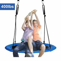 Reliancer 40  Saucer Tree Swing for Backyard Kids w/ 2 Carabiners&10 FT Tree Swing Straps 600lbs Weight Capacity Weather Resistant 400D Fabric Durable Steel Frame Adjustable Ropes to 63inch(40inch)