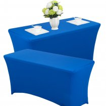 Reliancer 2 Pack 4\6\8FT Rectangular Spandex Table Cover Four-Way Tight Fitted Stretch Tablecloth Table Cloth for Outdoor Party DJ Tradeshows Banquet Vendors Weddings Celebrations (2PC 8FT, Blue)