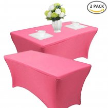 Reliancer 4\6\8FT Rectangular Spandex Table Cover Four-Way Tight Fitted Stretch Tablecloth Table Cloth for Outdoor Party DJ Tradeshows Banquet Vendors Weddings Celebrations (2PC 8FT, Pink)
