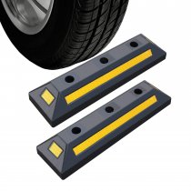 2 Pack Heavy Duty Rubber Parking Blocks Wheel Stop for Car Garage Parks Wheel Stop Stoppers Professional Grade Parking Rubber Block Curb w/Yellow Refective Stripes for Truck RV, Trailer 21.25 (L)
