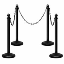 4 Pack Plastic Stanchios Set w/ 3PCS 40  Link Chain Sentry Stanchion Kit w/Fillable Base Crowd Control Safety Stanchion Barriers Easy Connect Assembly Outdoor and Indoor Posts Queue Barrier
