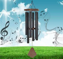 Reliancer Memorial Wind Chime Outdoor Large Deep Tone 31'' Amazing Grace Wind-Chime  with 6 Aluminum Tubes Elegant Melodic Sympathy Chimes Windbell Home&Garden Decor Patio Balcony Gift(Black)