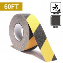 Reliancer Anti Slip Safety Grip Tape 2inx60ft Non Skid Tread Safety Tape with High Traction Grit Yellow & Black Marking Self-adhesive Tape Hazard Caution Warning Tape for Stairs Steps Deck(2 ×60')