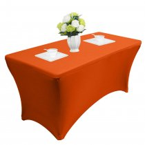 Reliancer 4\6\8FT Rectangular Spandex Table Cover Four-Way Tight Fitted Stretch Tablecloth Table Cloth for Outdoor Party DJ Tradeshows Banquet Vendors Weddings Celebrations(4FT,Orange)