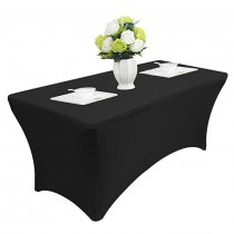 Reliancer 4\6\8FT Rectangular Spandex Table Cover Four-Way Tight Fitted Stretch Tablecloth Table Cloth for Outdoor Party DJ Tradeshows Banquet Vendors Weddings Celebrations(4FT,Black)