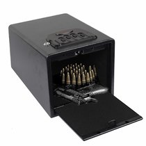 Electronic Gun Safe Smart Quick Access Pistol Safe Storage Security Cabinet w/Four-keypad&2 Emergency Keys&Rechargeable Battery Q235 Carbon Steel Handgun Lock Security Box