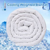 Reliancer Cooling Weighted Blanket for Hot Summer 20lbs 60''x80'' Dual Sided Cooling Ice Silk 100% Natural Cotton Glass Beads Heavy Blanket Quilt for 170-230lbs Women Men Fits Queen King