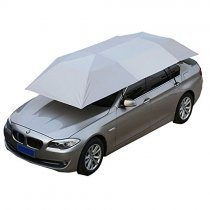 Reliancer Car Tent Semi-automatic Hot Summer Car Umbrella Cover Portable Movable Carport Folded Automobile Protection Sun Shade Anti-UV Canopy Sunproof Shelters SUV(Manual Silver)