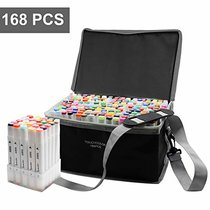 Reliancer 168 Colors Dual Tip Art Marker Pens w/Carrying Case and Organized Base Colored Artist Drawing Markers Sketch Pen Highlighters for Kids and Adult Drawing and Painting Supplies Back to School