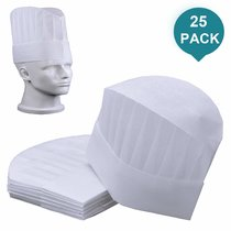 25 Pack Disposable Chef Hats Adjustable SMS Non Woven Kitchen Cooking Hat 9  High Round White Paper Chef Toques Culinary Caps Chef Supplies for Kids Adults Party Baking Restaurants School Classes