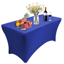 Reliancer 4\6\8FT Rectangular Spandex Table Cover Four-Way Tight Fitted Stretch Tablecloth Table Cloth for Outdoor Party DJ Tradeshows Banquet Vendors Weddings Celebrations(8FT,Blue)