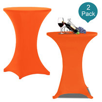 Reliancer 2 Pack 32inch Highboy Cocktail Round Spandex Table Cover Four-Way Tight Fitted Stretch Tablecloth Table Cloth for Outdoor Party DJ Tradeshow Banquet Vendor Wedding(2PC 32''X43'',Orange)