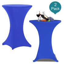 Reliancer 2 Pack 32inch Highboy Cocktail Round Spandex Table Cover Four-Way Tight Fitted Stretch Tablecloth Table Cloth for Outdoor Party DJ Tradeshow Banquet Vendor Wedding(2PC 32''X43'',Royal Blue)