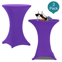 Reliancer 2 Pack 30inch Highboy Cocktail Round Spandex Table Cover Four-Way Tight Fitted Stretch Tablecloth Table Cloth for Outdoor Party DJ Tradeshow Banquet Vendor Wedding(2PC 30''X42'',Purple)