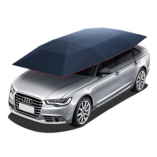 Reliancer Semi-automatic Car Tent Movable Carport Folded Portable Automobile Protection Car Umbrella Sunproof Sun Shade Canopy Cover Universal(157.48''X86.62'')