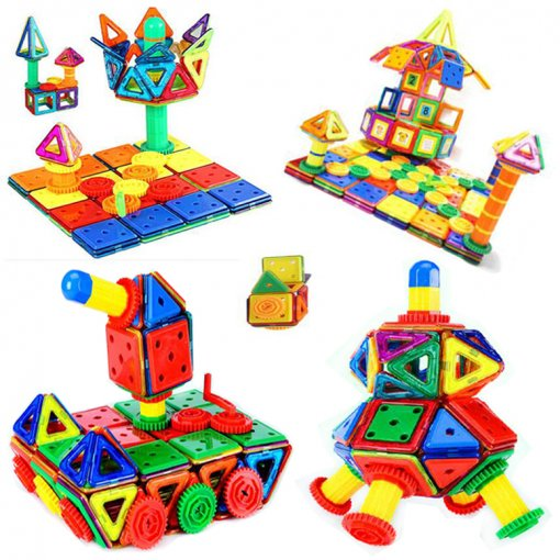 Reliancer 42 Piece Expansion Set for DIY Magnetic Building Blocks Set Extra Expansion Pack Block Magnets Kit Accessories 3D Construction Building Tiles Magnet Playboards Educational Block Stacking Toy