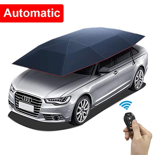 Automatic Car Tent w/Remote Control Movable Carport Folded Portable Automatic and Manual 2 in 1 Automobile Protection Car Umbrella Sunproof Sun Shade Canopy Cover Universal(157.48''X86.62'')
