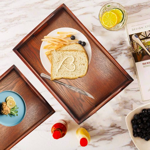 Reliancer Set of 3 Large Wooden Serving Trays w/Handles Nesting Breakfast Serving Trays Decorative Rectangular Wood Display Tray Set Nested Food Tray Butler Serving Tray for kitchen Party Dinner